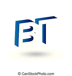 B T initial letter with negative space logo icon vector template