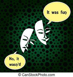 b, théâtre, chanceux, masques, triste, sombre