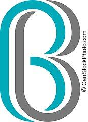 b, torcido, letra, ícone