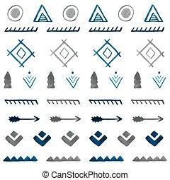 b, tribal, pattern., seamless, mano, acuarela, étnico, ...