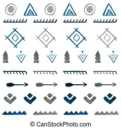 b, tribale, pattern., seamless, mano, acquarello, etnico, ...