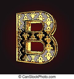 b vector black letter with gold