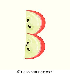 B veggie fruit letter of English alphabet made from red apple vector Illustration on a white background