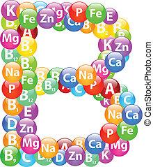 b, vitamine, lettre