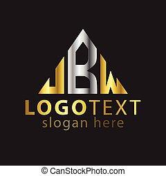 b, w, aanvankelijk, j, vector, brief, logo