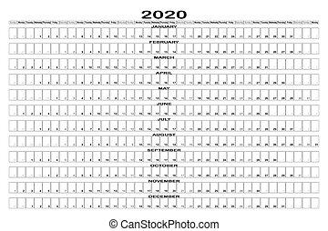 b, w, maand, 2020, landscape, ontwerper, muur, lijn
