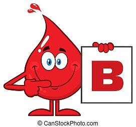 b, weisen, tropfen, zeichen, blut typ, karikatur, rotes , brett