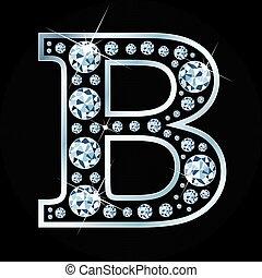 b, wektor, litera, robiony, z, dzwonek, odizolowany, na, czarne tło