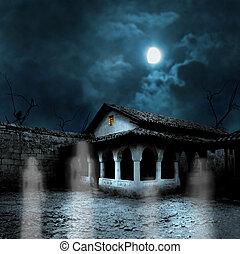 b, yarda, casa, halloween, calabazas, noche, viejo