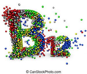 b12, mehrfarbig, vitamine, wort, 3d