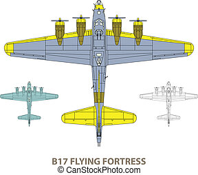 B17 Flying Fortress - Vector illustration of old military ...
