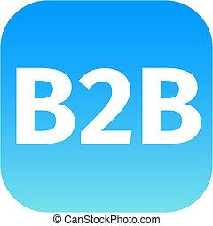 b2b blue computer icon on white background