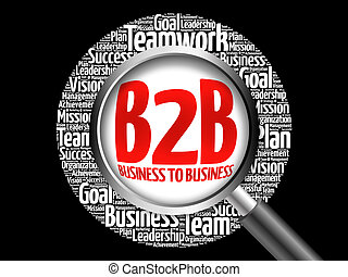 B2B (Business to Business) word cloud with magnifying glass, business concept