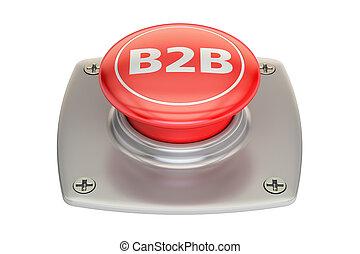 B2B button, 3D rendering