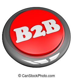B2B Button, isolated over white, 3d render, square image