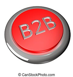 B2B button, isolated over white, 3d render