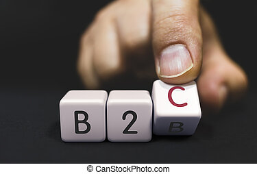 B2B Changes to B2C - Business Priorities Concept. Hand Turns...