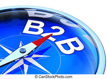 high resolution 3D rendering of a compass with a B2B icon
