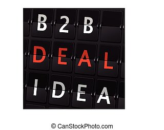 B2B deal idea words on airport board