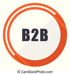 B2b flat design vector web icon. Round orange internet button isolated on white background.