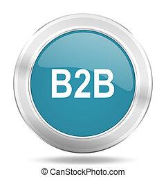 b2b icon, blue round glossy metallic button, web and mobile app design illustration