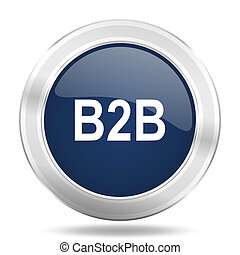 b2b icon, dark blue round metallic internet button, web and mobile app illustration