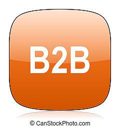 b2b orange square web design glossy icon