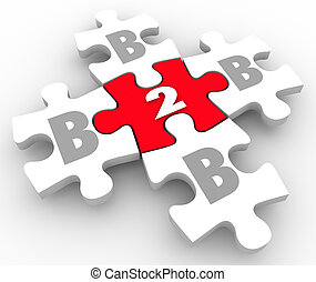 B2B letters on puzzle pieces connecting as businesses network and sell products and services to each other