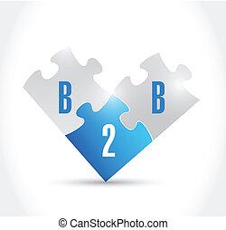 b2b puzzle pieces illustration design