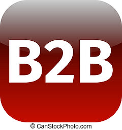 b2b red computer icon on white background