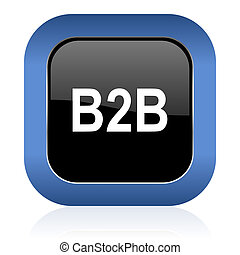 b2b square glossy icon