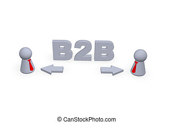 B2B text in 3d, pointers and two play figures with red tie