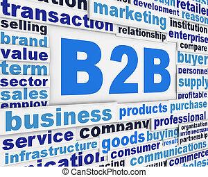 b2b, werbespruch, plakat, begriff
