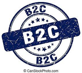 b2c blue grunge stamp