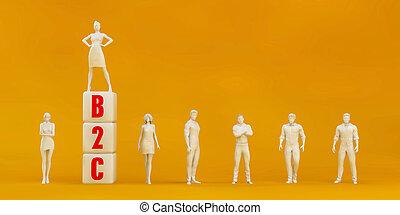 B2C Business to Consumer Presentation Background in Orange ...