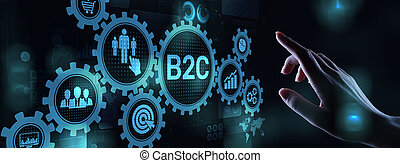 B2C Business to customer concept on virtual screen.