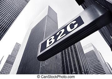 B2C concept - B2C symbol against office buildings