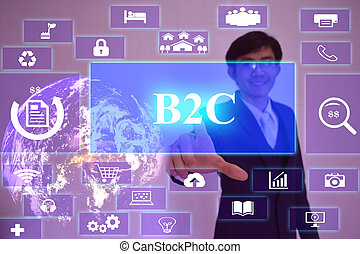 B2C  concept  presented by  businessman touching on  virtual  screen ,image element furnished by NASA