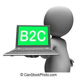 b2c, draagbare computer, karakter, het tonen, kleinhandel,...