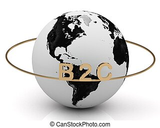 B2C gold letters on a gold ring around the earth