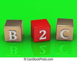 B2C inscription in gold and red cubes
