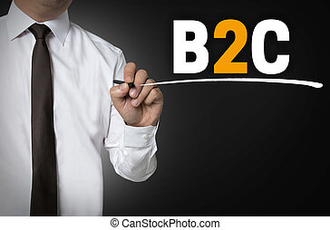 B2C is written by businessman background concept