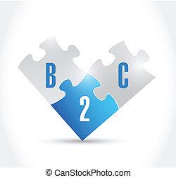 b2c puzzle pieces illustration design