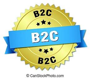 b2c round isolated gold badge