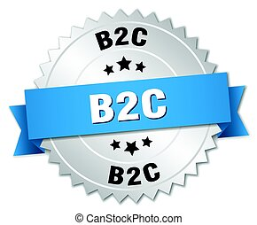 b2c round isolated silver badge