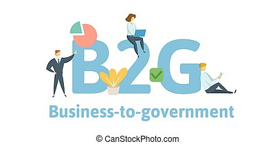 B2G Business to Government. Concept with keywords, letters, and icons. Flat vector illustration. Isolated on white background.