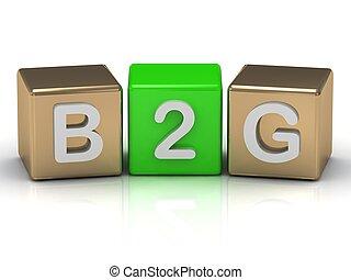 b2g, business-to-government, símbolo, en, oro, y, verde,...
