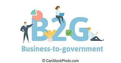 b2g, geschaeftswelt, zu, government., begriff, mit, keywords, briefe, und, icons., wohnung, vektor, illustration., freigestellt, weiß, hintergrund.