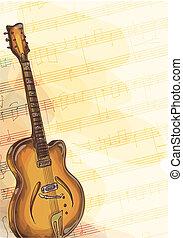 baß, handgearbeitet, gitarre, musik, hintergrund, notizen.