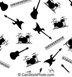 baß, seamless, tastaturen, instrumente, wiederholen, vektor, abbildung, muster, gitarre, musikalisches, trommeln